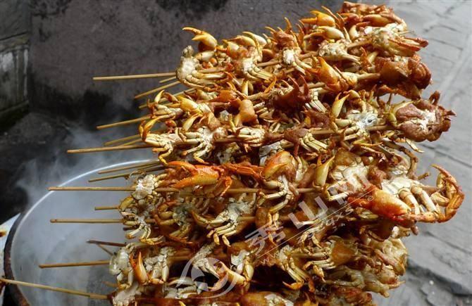 炸美食-v美食螃蟹-秀山网美食街沙附近海心的图片